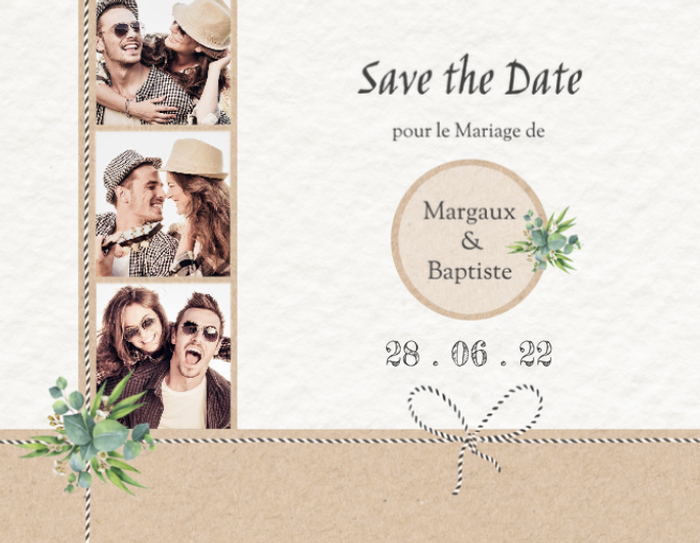 carton d 39 invitation mariage original save the date photoservice. Black Bedroom Furniture Sets. Home Design Ideas
